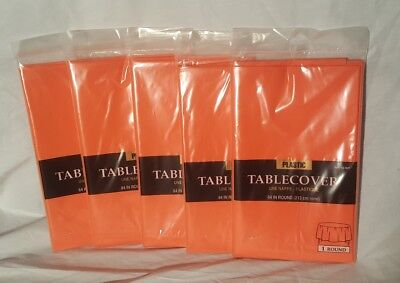 LOT of 5 Amscan Orange Plastic Table Cover 84