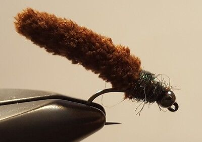 Fly Fishing Flies 12 Beaded Dust Mop Fly Caddis Collection size 10 Barbless Jig