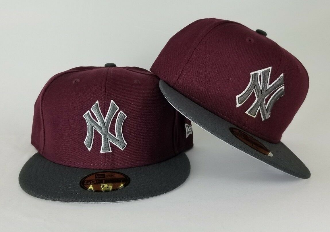 Details about New Era Maroon   Dark Grey New York Yankee 59Fifty Fitted hat 132673ff770