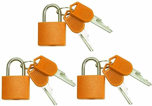 Small Mini Durable ABS Cover Solid Brass Body Individually Keyed Padlock 3pc Orn