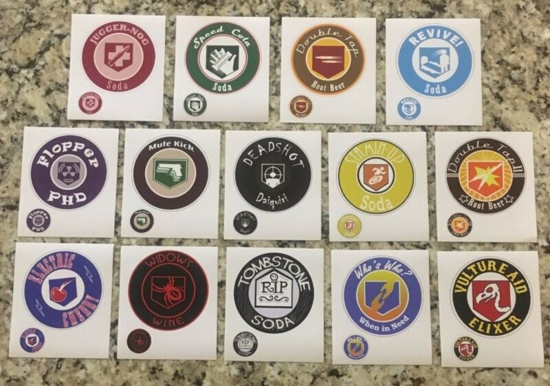 Perk Cola Labels! Call of Duty Zombies! All 14 Perk a Cola - FREE SHIPPING!