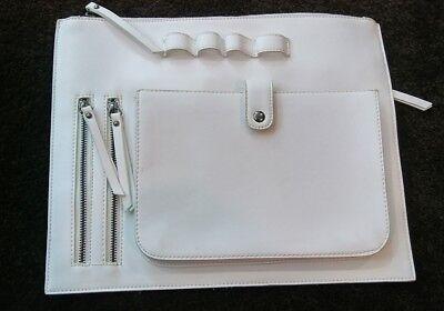 A Women's White Extra Large Clutch Organizer Wallet Handbag  11x14