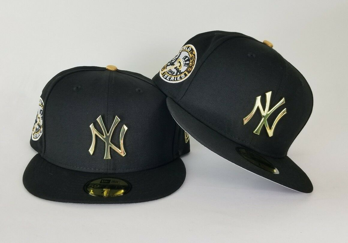 1065d4aa1b9 New Era Black 1949 WS Yankee Gold Metal Badge fitted hat Jordan 14 Retro DMP