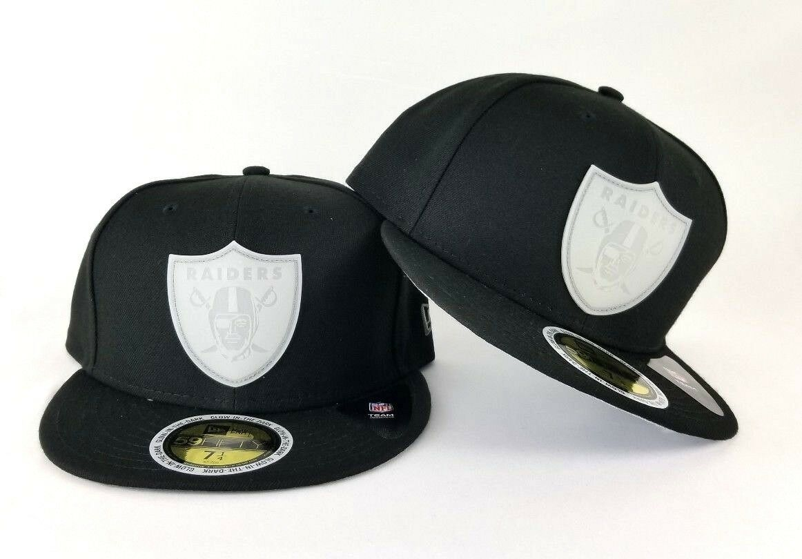 New Era NFL Black Oakland Raiders Glow in the Dark Badge Logo Fitted ... 417c57d00d0