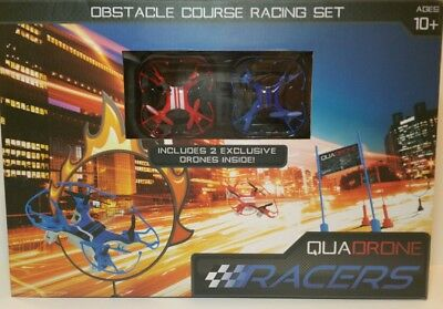 2 PACK  Quadrone Quadron Racing Drones and Obstacle Flying Course Race Track Set
