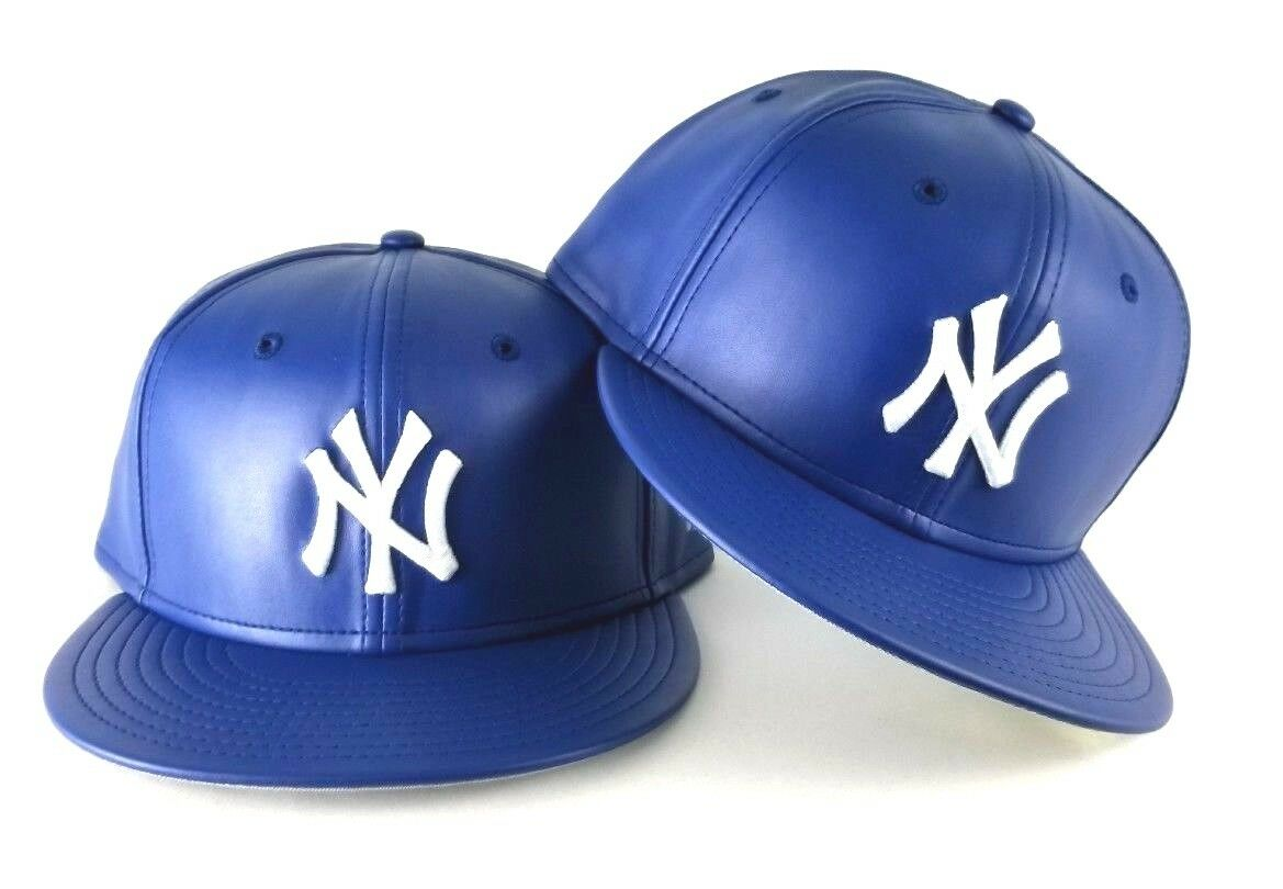 b7b4ddd3ee7 New Era MLB New York Yankee 59Fifty Royal on White PU Faux Leather Fitted  hat