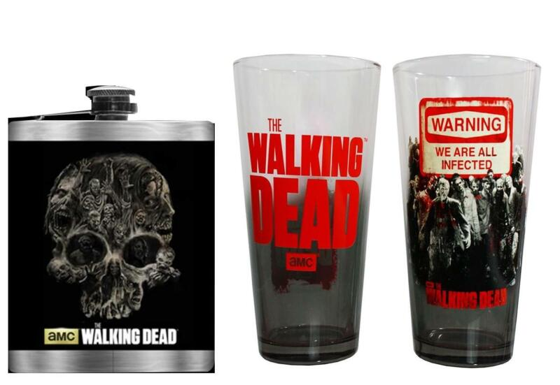 The Walking Dead Walker Bundle, Pint Glass 2-Pack and 8oz Flask