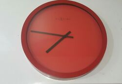 Beautiful Retro Nextime Wall Clock Color:Bold Red / Size:17.25 diameter