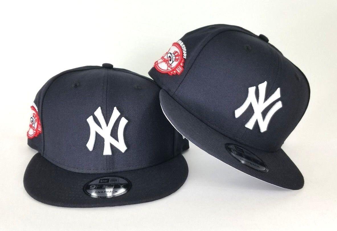 794814673a59b New Era New York Yankee 100th Anniversary Patch 9Fifty Snapback Hat Navy