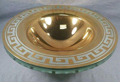 """Stephen SCHLANSER Art Glass BOWL Gold Greek Key Design 1998 Signed 16"""" x 4.5"""""""