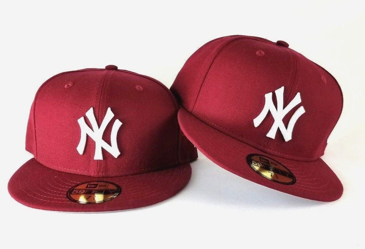 New Era MLB Burgundy New York Yankee 59Fifty Gray Bottom Fitted hat ... 1b48b7987258