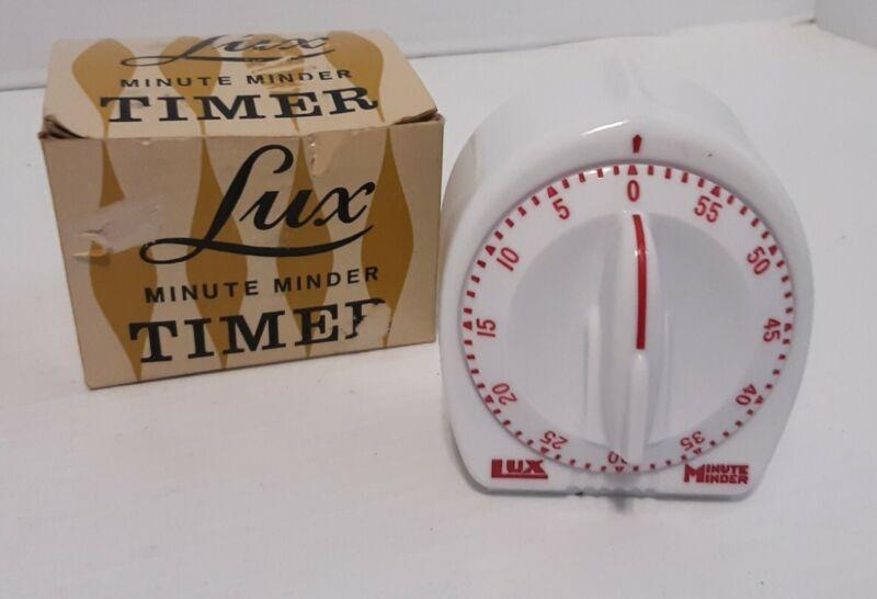 Vtg Lux Minute Minder Timer Catalog #2428-01 White With Box