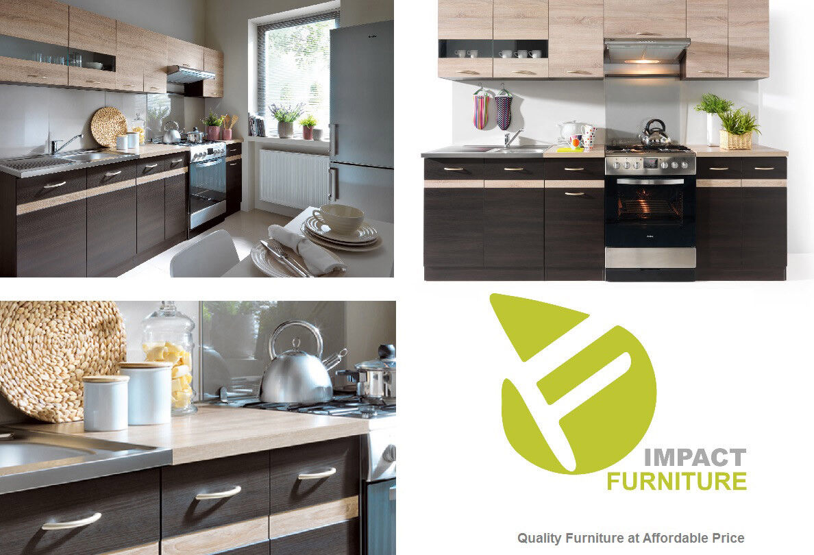 Details about complete kitchen set 7 units cabinets wenge sonoma oak 240 cm budget cheap small