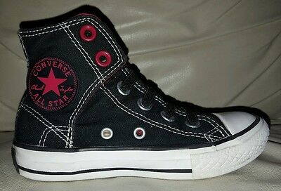 Converse 11 toddler/kids high tops shoes black red slip on