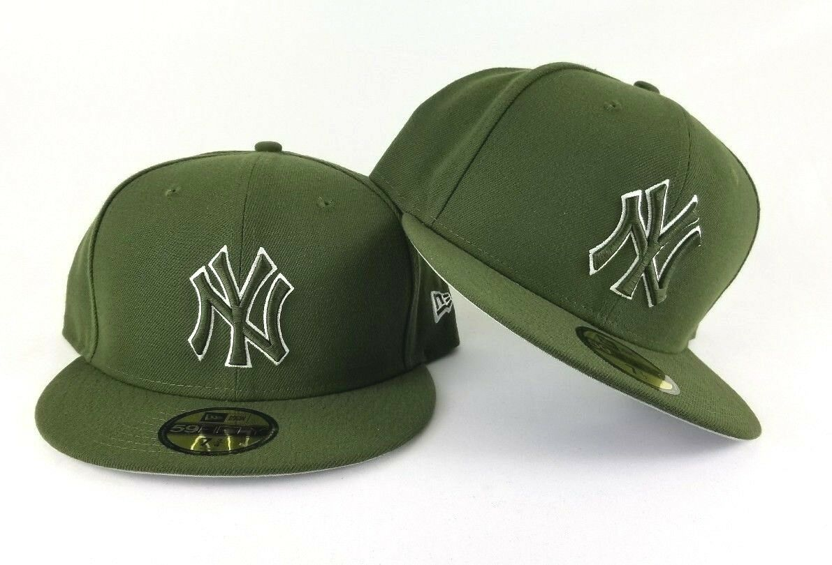 newest aa2f7 53494 New Era MLB Olive Green New York Yankee 59Fifty Gray Bottom Fitted hat Cap