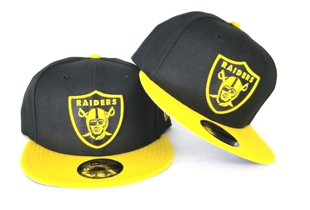 New Era NFL Black   Yellow Oakland Raiders Shield Logo 9Fifty Snapback Hat 8a99707e29c