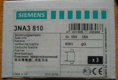 Siemens Sicherungseinsätze 3NA3810 25A 500V 2×3 Stück
