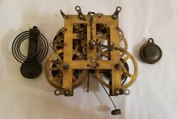 Antique E. N. WELCH Clock Movement Cast Iron Chime and Pendulum