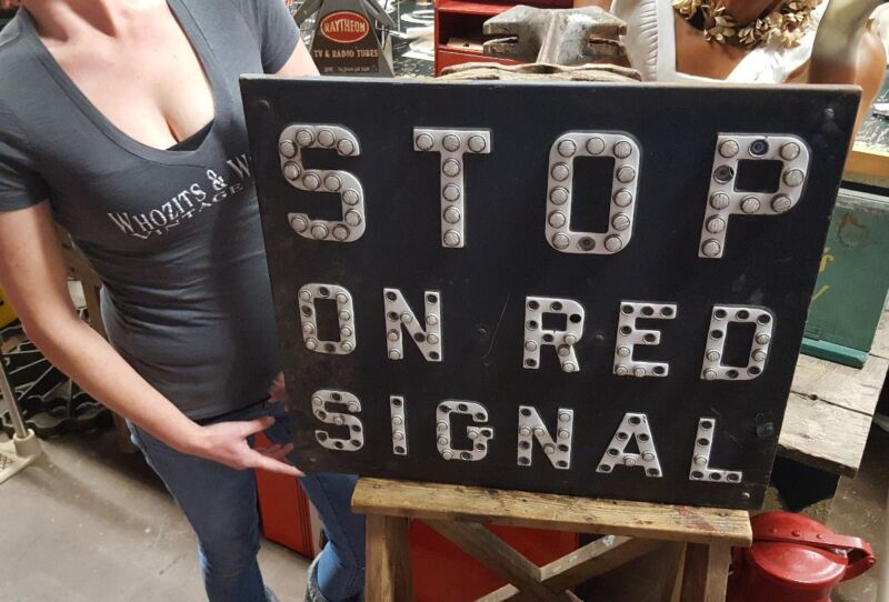 Vintage STOP ON RED SIGNAL Reflector Railroad RR Advertising Sign