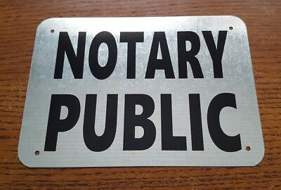 Notary Public 5 X 7 Galvanized Metal Sign Bold Black On Metal Background