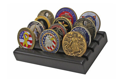 Challenge Coin Display Stand Rack, Solid Wood, Black Finish CN-6 Challenge Coin Display Rack