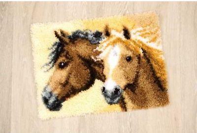 Knüpfteppich Tiermotiv Pferde mit Garn 55x40 cm Vervaco KKPN0144834