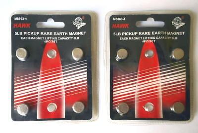 Set Of 8 Neodymium Rare Earth 5lbs Pickup Magnets Hawk M8863-4 New Old Stock