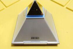 Seiko Pyramid Talking Clock Time Table Desk Speaking Alarm Clock QHL054S