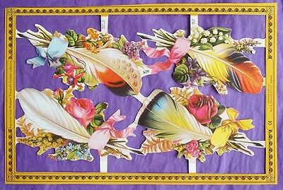 Victorian Scrap Paper Die Cut Feather Flower Bouquets New made in UK Pretty!