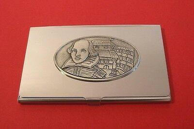 Globe Business Card Holder - Shakespeare and Globe Theatre Chrome Card Holder Business Cards Drama Gift