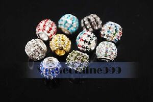 New-10pcs-Crystal-Rhinestone-Charms-Findings-Spacer-Loose-European-Beads-12mm