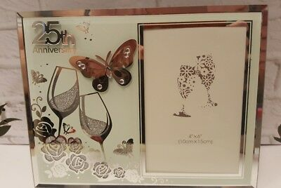 25th anniversary Photo frame GIFT butterfly champagne flute detail. Suit 4'6 pho