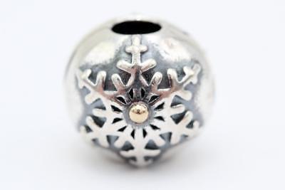 Pandora (791232) Sterling Silver, 14K Yellow Gold, Snowflake Clip Charm NEW