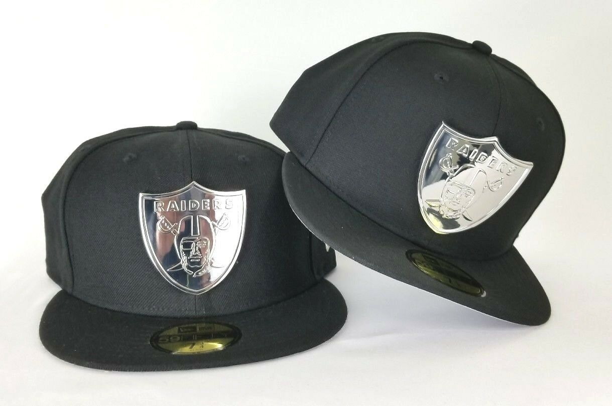 NFL New Era 59Fifty Black Oakland Raiders Silver Metal Badge fitted ... 774138309a0