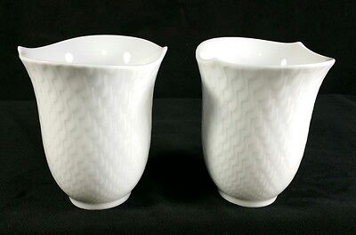 Pair of Meissen Beaker Waves Relief Pattern White Tumblers 4.25 Inch Tall MINT