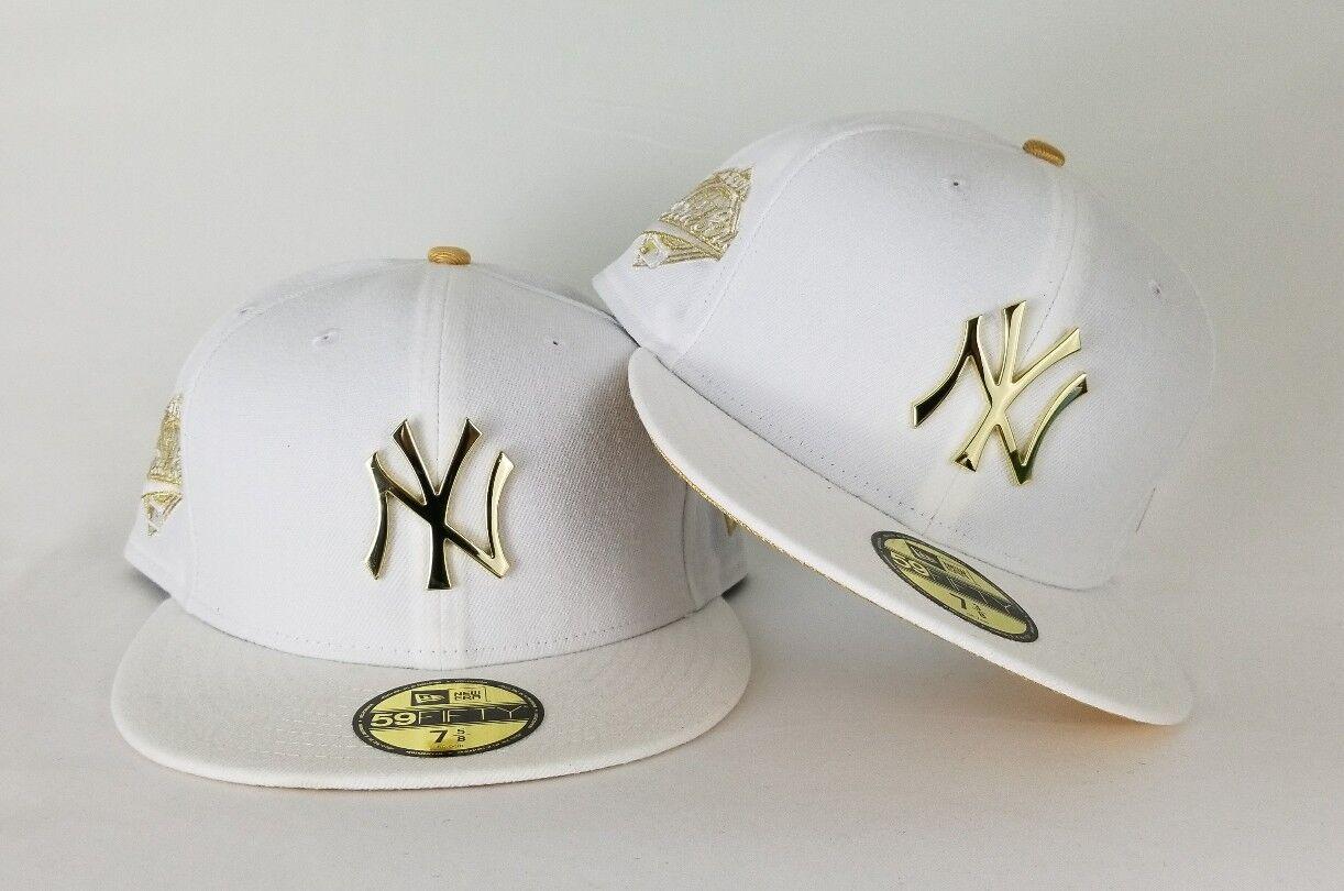 sports shoes 739c7 0df38 New Era White 1996 WS Yankee Gold Metal Badge fitted hat Jordan 13 Retro DMP