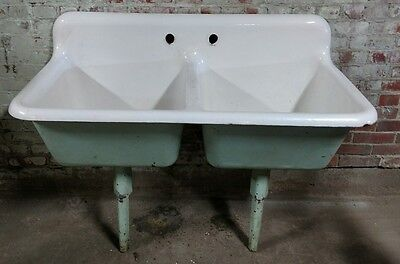 Reclaimed Vintage Antique Cast Iron Kohler Double Basin Sink. As Found. hospital