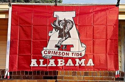 College Banners (UA Alabama University 3x5 Sports Flag College NCAA Crimson Roll Tide Banner)