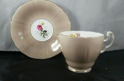 Adderly English Bone China Teacup and Saucer Coffee colored with Flowers