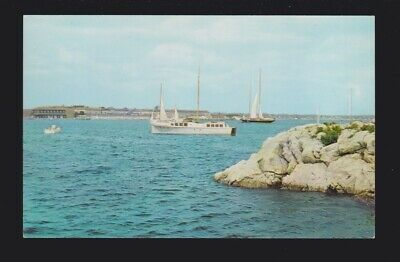 Brenton Cove Fort Adams in Background Newport RI Postcard shows some sailboats