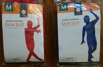 Skin Costume Kids (Halloween Youth Red Blue SKIN SUIT Costume size M Medium 6-8 NEW)