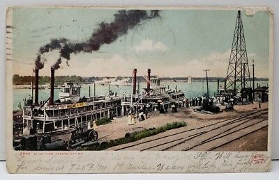 Kansas City Missouri River View Ferry Boats, Canons, Railroad 1906 Postcard C18