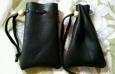 Small black leather bag pouch drawstring renaissance medieval dice coin