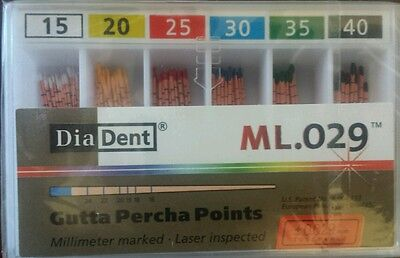 Diadent Gutta Percha Points Size 15-40 Iso Color Coded Box Of 120