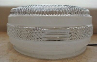 Vintage Kitchen Frosted & Clear Glass Ceiling Lamp Shade Top. Retro Home Decor