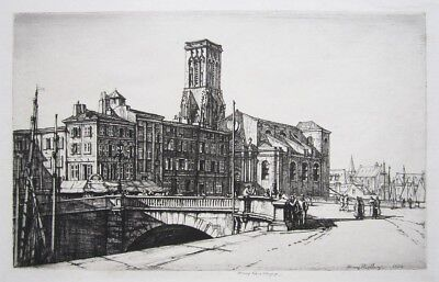 """HENRY RUSHBURY Signed 1924 Original Drypoint - """"La Rochelle"""" for sale  Los Angeles"""