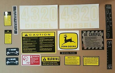 John Deere 4320 Tractor Hood Safety Decal Set