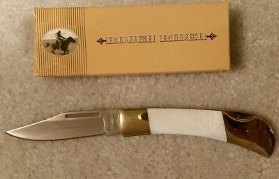 "RR22325 Rough Rider Pearl Handled Lockback 3 3/8"" Pocket Knife New Old Stock"