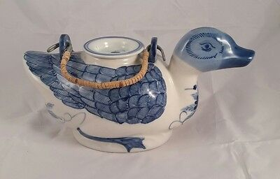 Handpainted in Chind Blue and White Duck Teapot