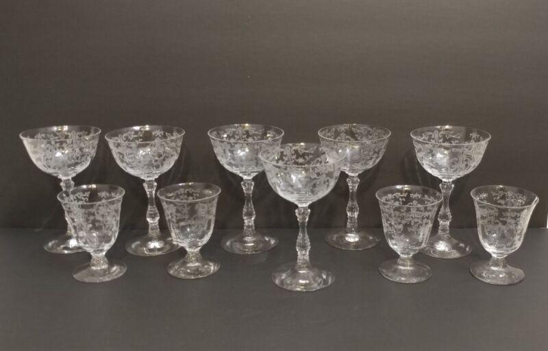 10 Fostoria Navarre Clear Crystal Liquor Cocktail Glasses & Goblets Stem NICE